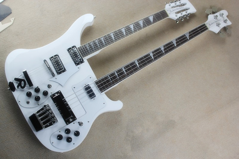 best quality custom double neck rick 12 strings 4 strings bass white electric guitar free. Black Bedroom Furniture Sets. Home Design Ideas