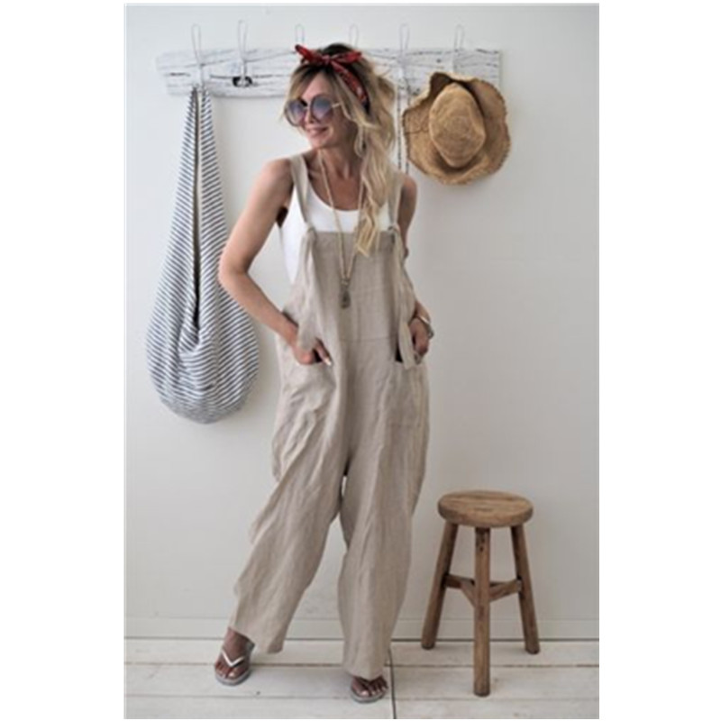Women Sleeveless Pockets Dungaree Baggy   Jumpsuits   Overalls Fashion Strappy Loose Long Harem Pants Bib Trousers Plus Size XL W3