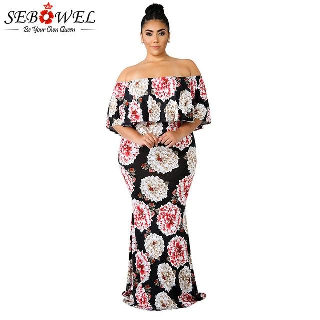 09fb92e44fa50 SEBOWEL Plus Size Floral Maxi Dress Woman Summer 2019 Off Shoulder Ruffled  Neckline Bodycon Retro Long Dresses for Female XL-5XL