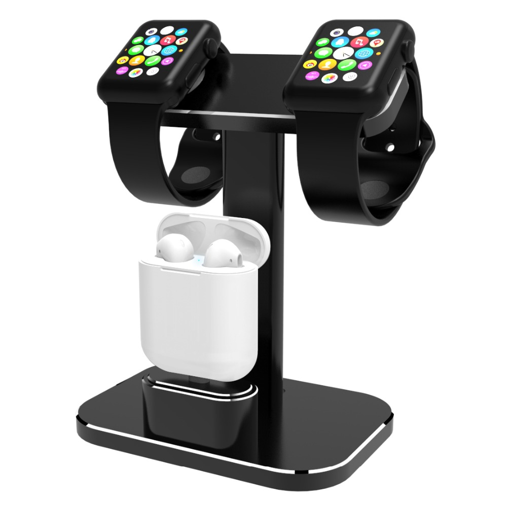 Compatible 2 In 1 Watch Stand Replacement For Apple Watch I Watch Charging <font><b>Dock</b></font> <font><b>Station</b></font> Stand Holder Aluminum Airpods Stand image