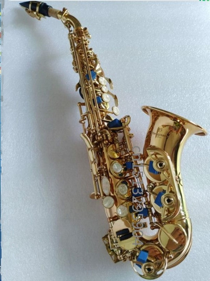 Wholesale Hot selling Yanagisawa S-991 Curved Saxophone BB Tone Bell Curved Soprano Sax saxofone for Children Musical Instrument soprano saxophone bb curved sax high f with case the blue silver keycopper simulati copper simulation soprano saxophone