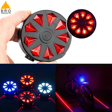 Bike Lights 2 Laser 9 LED Cycling Bicycle Bike Taillight Bicycle Rear Lamp Warning Lamp Flash Alarm Light cycling taillight