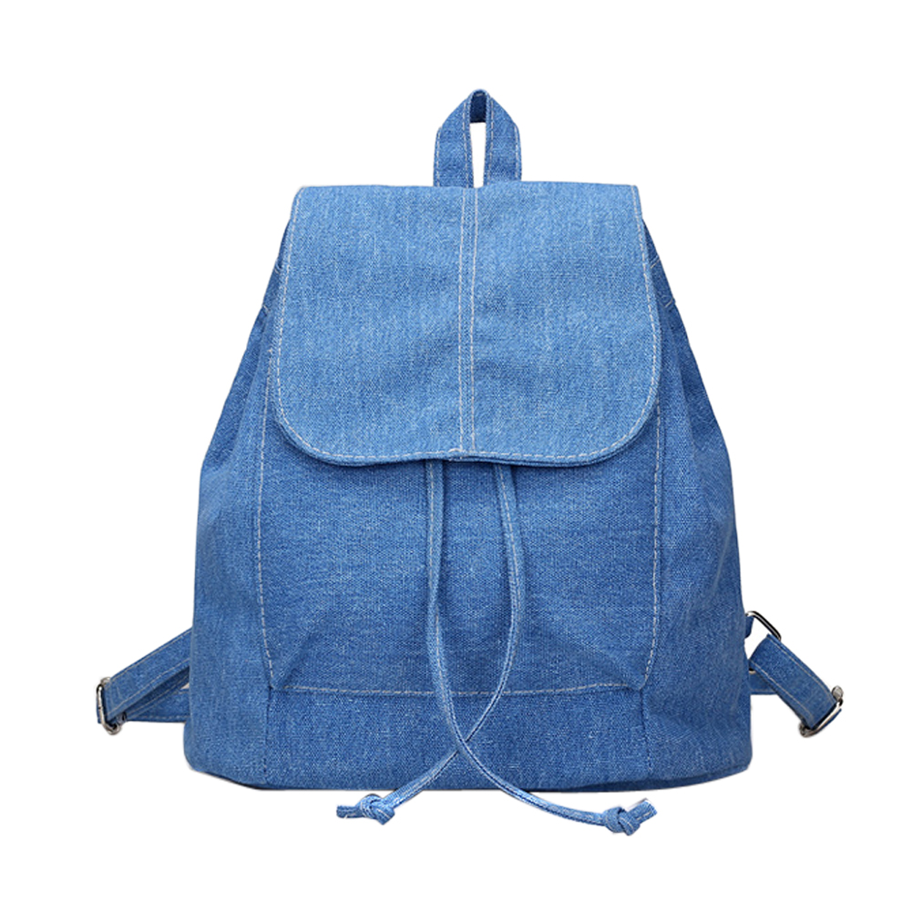 Fashion Women Soft Denim Drawstring Backpack Girls Leisure Jeans School Rucksack Female Travel Bag Bolsas Mochilas Feminina