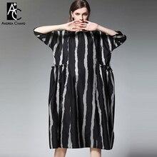 6cb196f4081a92 Lato wiosna kobieta sukienka szary czarny pionowe taśmy wzór sukienka z  kieszeniami 3/4 rękaw długość łydki plus rozmiar bawełni.