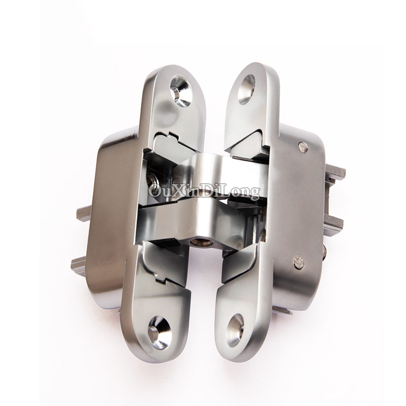 HOT 10PCS 3D Adjustable Cross Door Hinges Invisible Concealed Hinges Zinc Alloy Hidden Hinge Bearing 20KG/PCS For Folding Door 4 zinc alloy hidden hinges loading capacity 25kg concealed cross door hinge 94x54mm for folding door invisible hinges