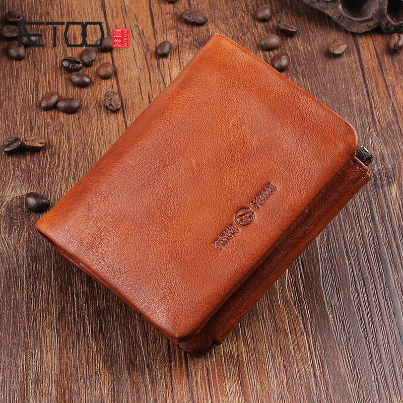AETOO Original retro first layer of leather short wallet vertical zip change buckle vertical paragraph leather