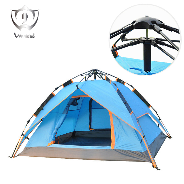 Wnnideo 3-Way Pop Up Instant Tent with Waterproof Rainfly,for Camping 2-4 Person (2 Adults/ 3-4 Teens or Kids), Blue