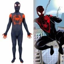 Adult Kids Spider-Man Costume Into the Spider-Verse Miles Morales Cosplay Spandex Superhero Black Spiderman Bodysuit Jumpsuits пиджак boss hugo boss boss hugo boss mp002xm0uznq