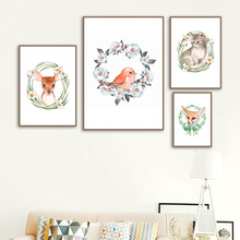 Wall Art Canvas Painting Flower Ring Cat Deer Fox Bird Cartoon Nordic Posters And Prints Pictures For Kids Room Decor Boy
