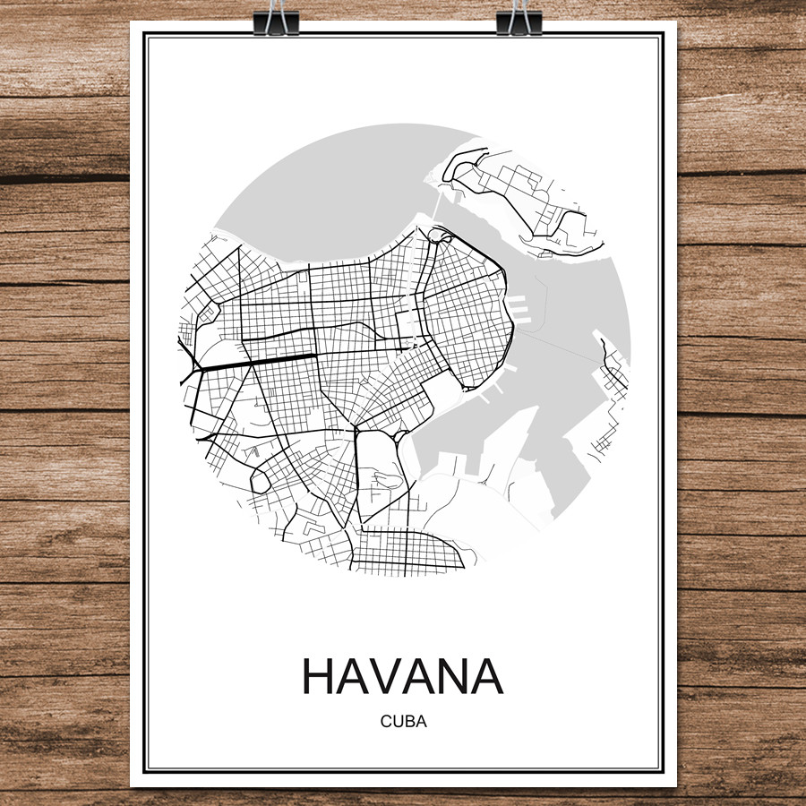 Abstract world city street map havana cuba print poster coated paper picture show gumiabroncs Image collections