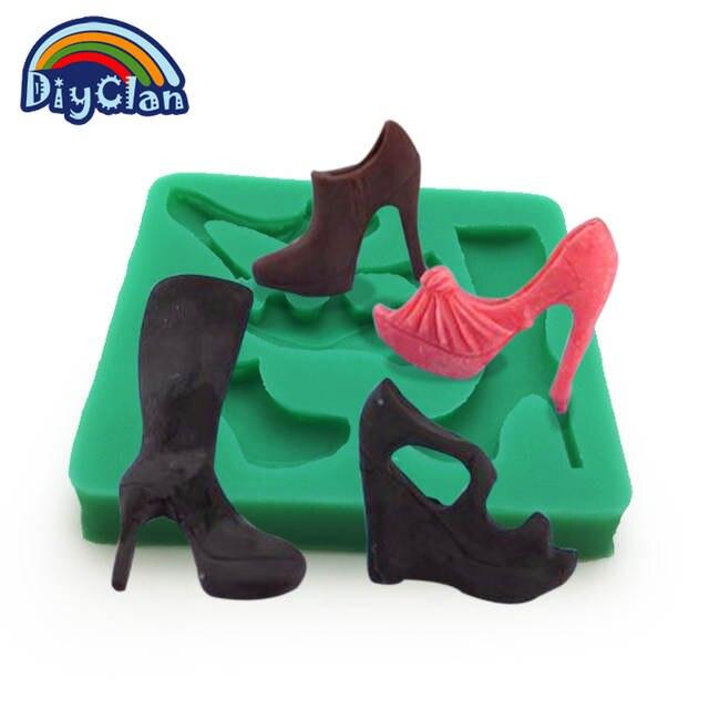 98e211390 placeholder Nova moda sapatos de salto alto botas de moldes bolo fondant de  silicone moldes dos doces