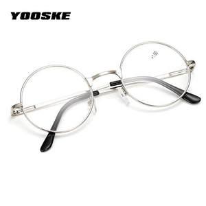 YOOSKE Retro Round Reading Glasses Metal Frame Mirror 1.0 a449203a64