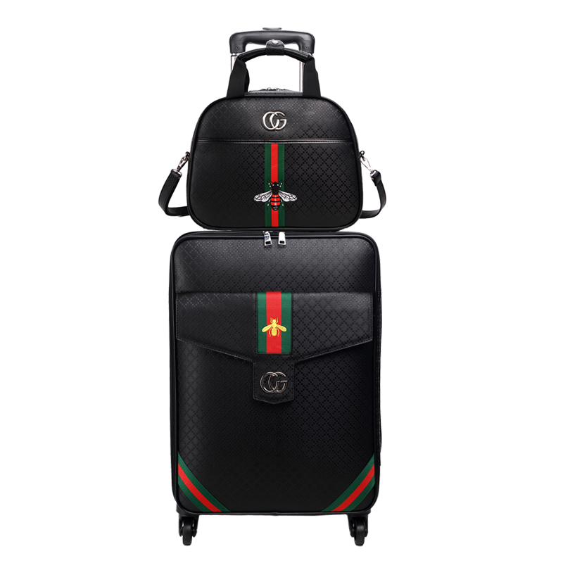 Women 's Man's Travel Luggage Suitcase bag set Waterproof PU leather Box with Wheel 162024 inch Rolling Trolley Business case vintage suitcase 20 26 pu leather travel suitcase scratch resistant rolling luggage bags suitcase with tsa lock