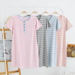 Для женщин трикотажные хлопковые ночные рубашки для девочек летнее платье новый короткий рукав пижамы простой сладкий полос