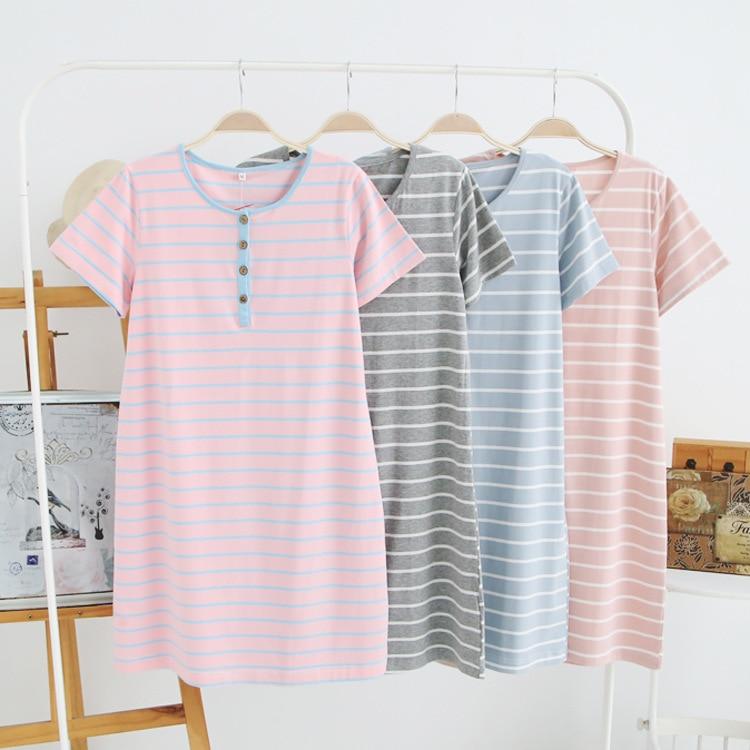 Women's Knitted Cotton   Nightgowns   Summer Dress New Short Sleeve Sleepwear Simple Sweet Stripe   Sleepshirts   Home Clothes Dresses