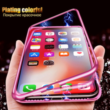 Magneto Magnetic Adsorption Case For iPhone Xs Max 7 Back Cover Case For Samsung S8 S9 Huawei P20 Lite Tempered Glass Case Coque