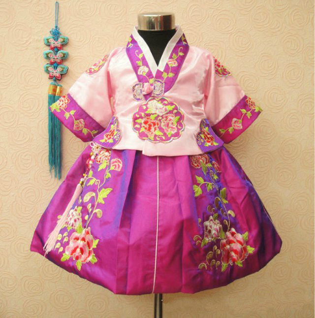 Exquisite Pattern Korean Children Dress Princess Dress Ethnic Korean Photography Clothing Girls Dance Wear Hanbok