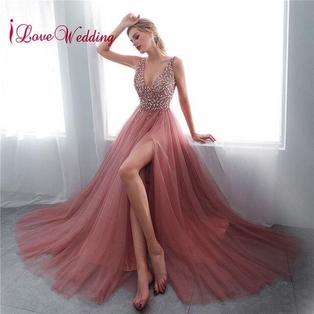 Hot Sale 2019 Vestido de festa longo Sexy Long Evening Dresses Deep V Neck Backless Beads Crystal Party Gown Sleeveless Evening