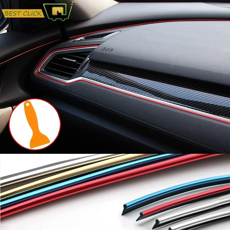 5m moldura interior de coche Trim de La etiqueta engomada de la consola de estilo guarnición para Kia Rio Solaris para Lada Granta Vesta