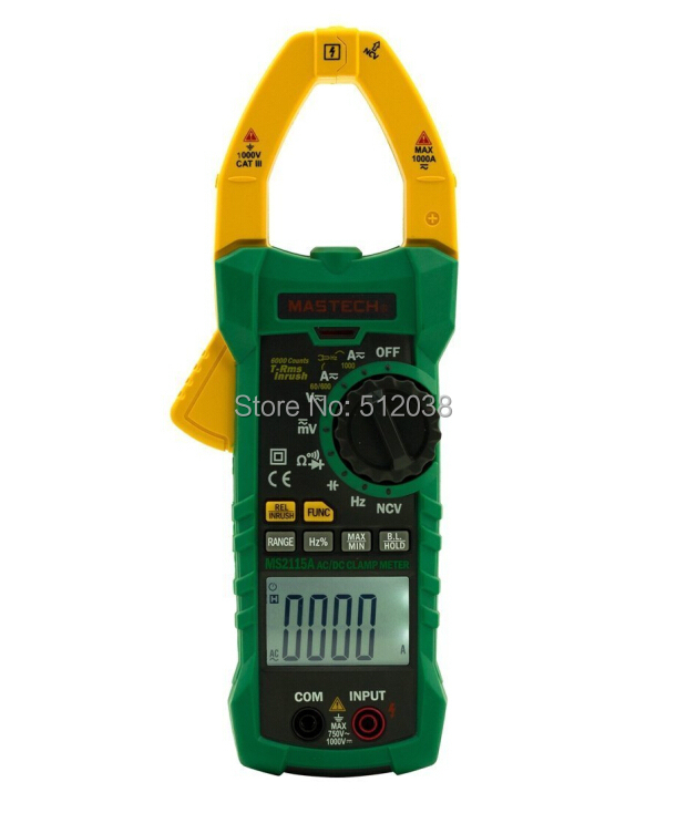 MS2115A True RMS 1000A  AC/DC Digital Clamp Meter Multimeter Auto Ranging Amp Voltage R HZ ad637 precision broadband ac true rms peak voltage detection module
