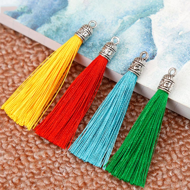 10pcs/lot 17 Colors Silk Tassel Cords With Metal Caps For Earrings 6cm Long Tassel Charm Pendant Fit DIY Jewelry Making Findings