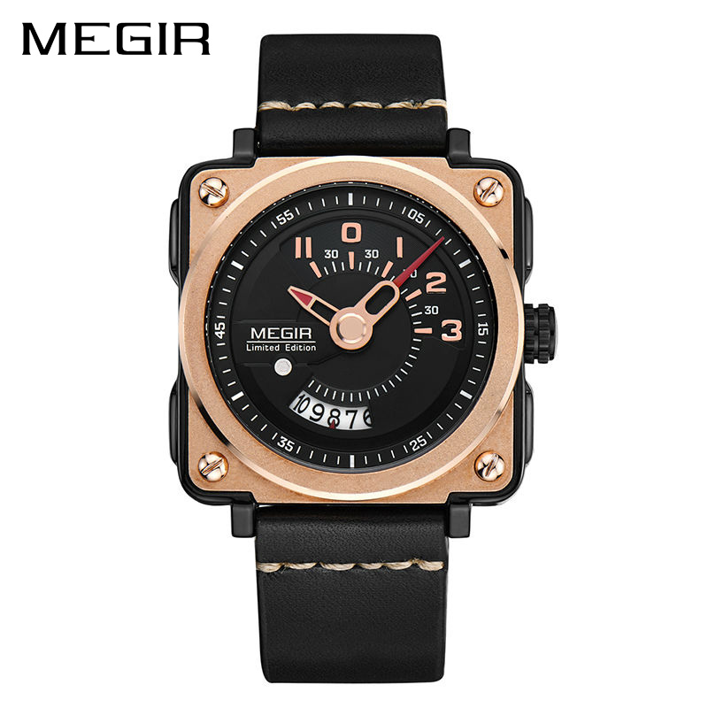 цена на MEGIR Men Watch Fashion Quartz Watches Clock Men Leather Strap Relogio Masculino Military Watch for Male Reloj Hombre Erkek Saat