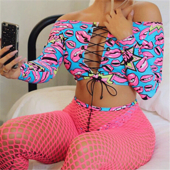 Women Swimsuit Cartoon Print Off Shoulder Bikini Fishnet Pants Swimming Suit Bikini Set Push Up Padded Swimsuit Beach Swimwear black off the shoulder strappy bikini set