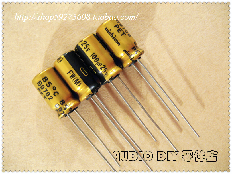 30PCS Nichicon FW series 100uF/25V audio electrolytic capacitors free shipping