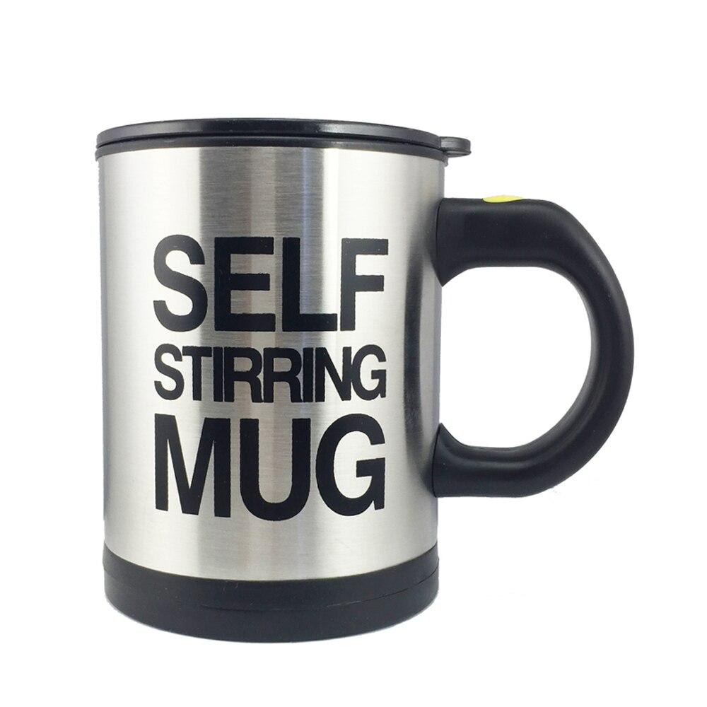 Taza de café creativa 13,5 ml/400 oz taza de superficie de acero inoxidable con tapa perezosa taza automática de auto agitación para oficina de viaje hogar
