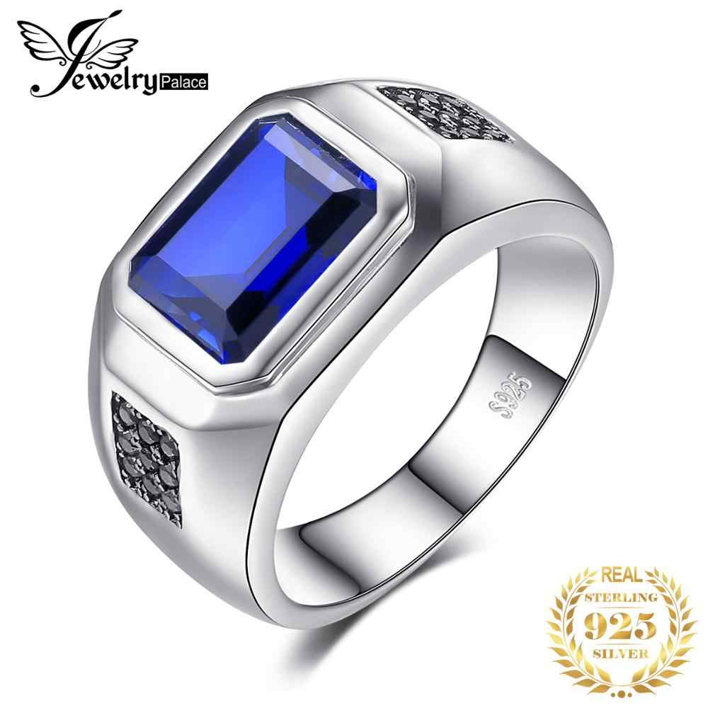 Jewelrypalace Ring Silver Sterling 925 Men 4.3ct Created Blue Sapphire Natural Black Spinel Wedding Ring Genuine Silver Gifts