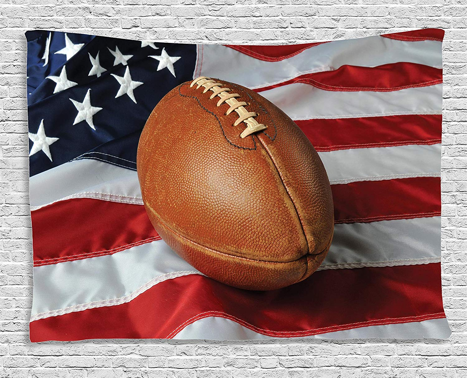 Sports Decor Collection Football Against A Usa Flag On A Vertical Format Patriotism National Sport Tapestry