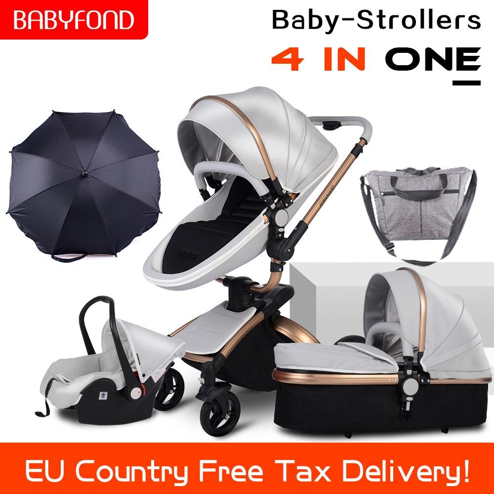 CE standard di lusso passeggino paesaggio di alta oro telaio 0-3 anni di età del bambino 4 in 1 passeggiatore del bambino con ombrello e borse 8 regali