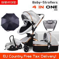 CE standard luxury high landscape stroller gold frame 0-3 years old baby 4 in 1 baby stroller with umbrella and bags 8 gifts