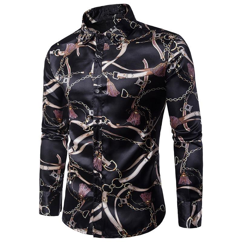 الأزياء يتأهل الذكور طباعة عارضة قمصان 2017 الخريف جديد جودة عالية الحرير اللباس قمصان زهرة فحص اللباس الرجال camisa
