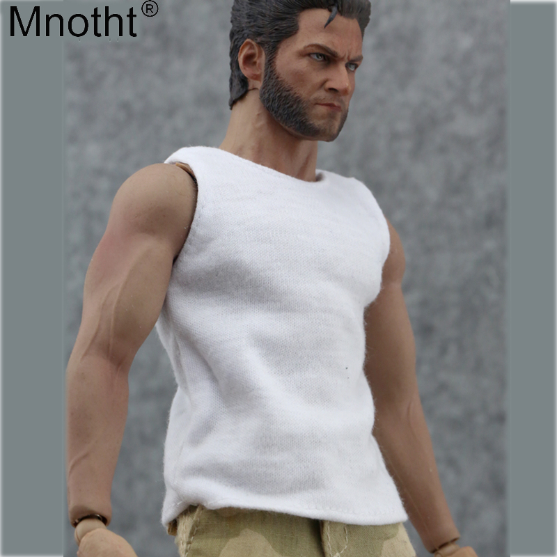 """Mnotht 1/6 Male Clothes Accessory Vest White Model Men's underwear Toy For 12"""" Muscle Action Figure Soldier Clothing Annex Body"""