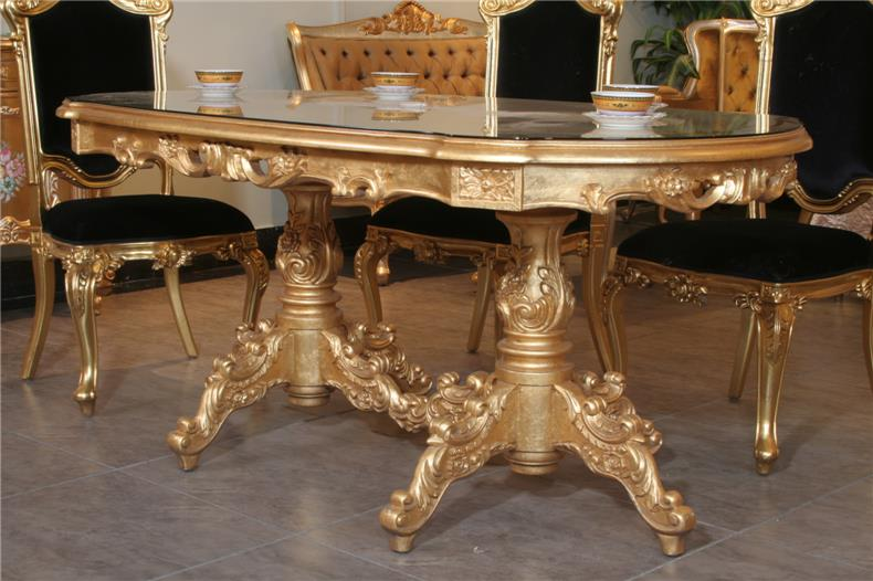 Italian Baroque Style Full Gilding Gold Grade Furniture Wood Carving Art Of The Family Dinner Table