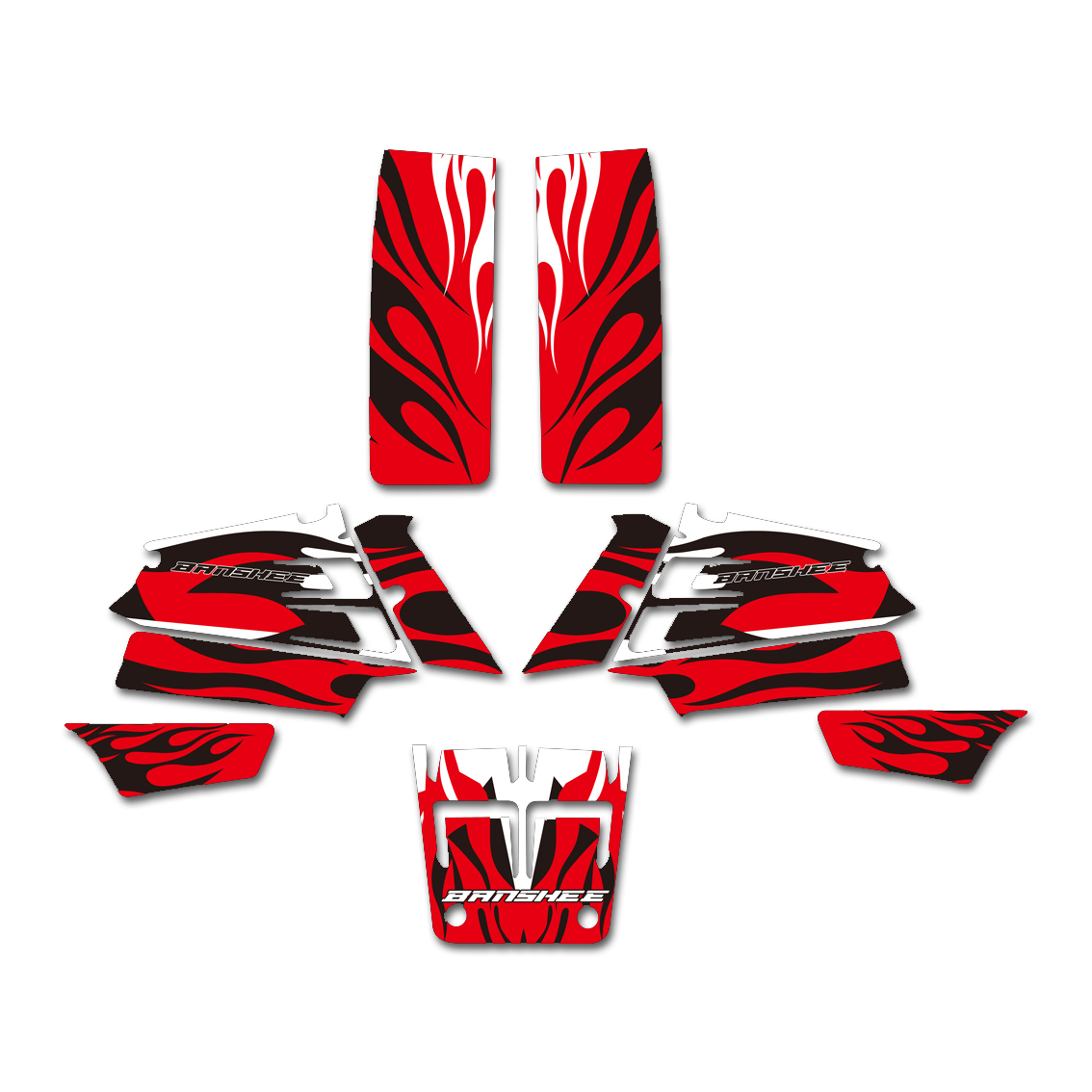 New Style Red Fire DECALS STICKERS Graphics Kits for Yamaha YFZ350 BANSHEE 350 ATV 1987-2005