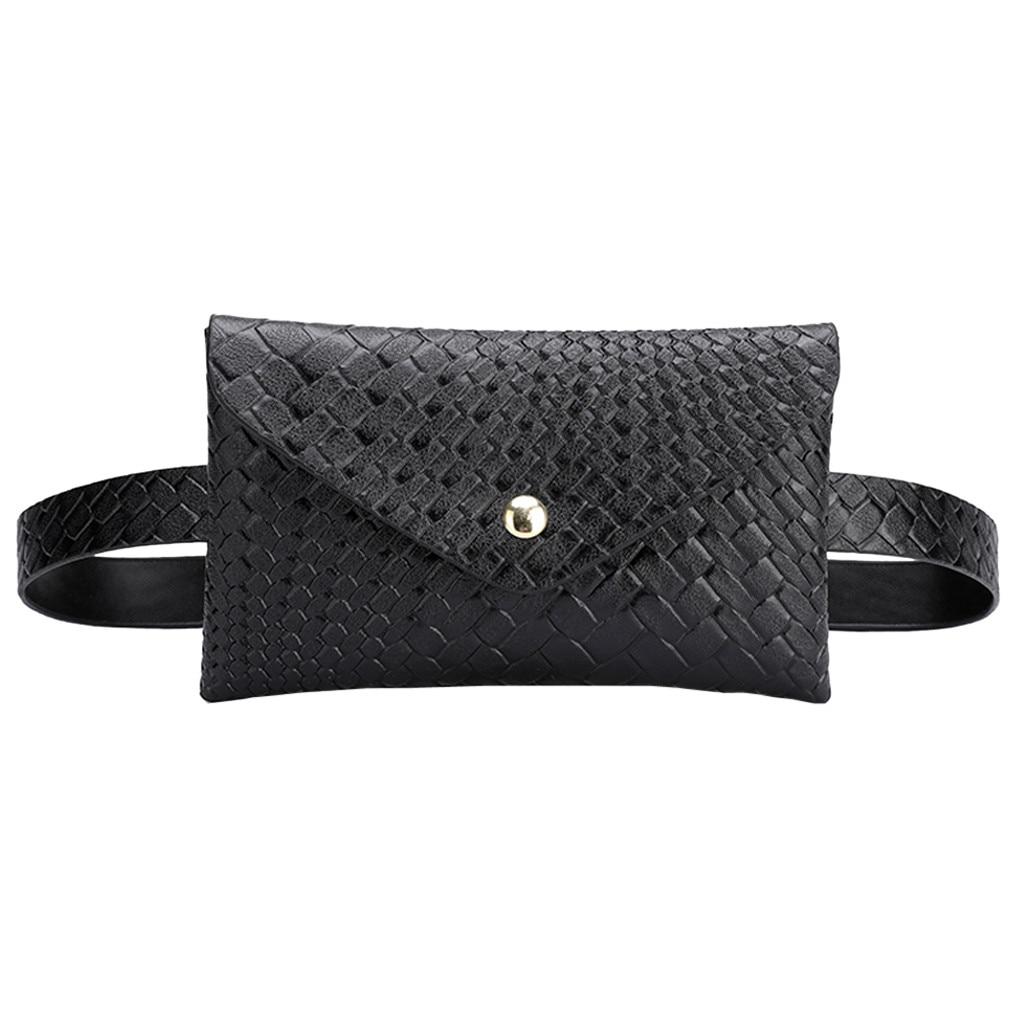Fashion Women Outdoor Weaving Hasp Solid Color Messenger Bag Chest Bag Waist Bag Plaid Envelope Lady Small Pockets #S