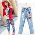 Женщины Ripped Отверстия Джинсы Лето 2016 Новый Модный Бренд Красный шаблон Мыть Плюс Размер S-XL Высокой Талией Тощий прямо Джинсовой брюки