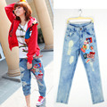 Women Ripped Holes Jeans Summer 2016 New Fashion Brand Red Pattern Washed Plus Size S-XL High Waist Skinny straight  Denim Pants