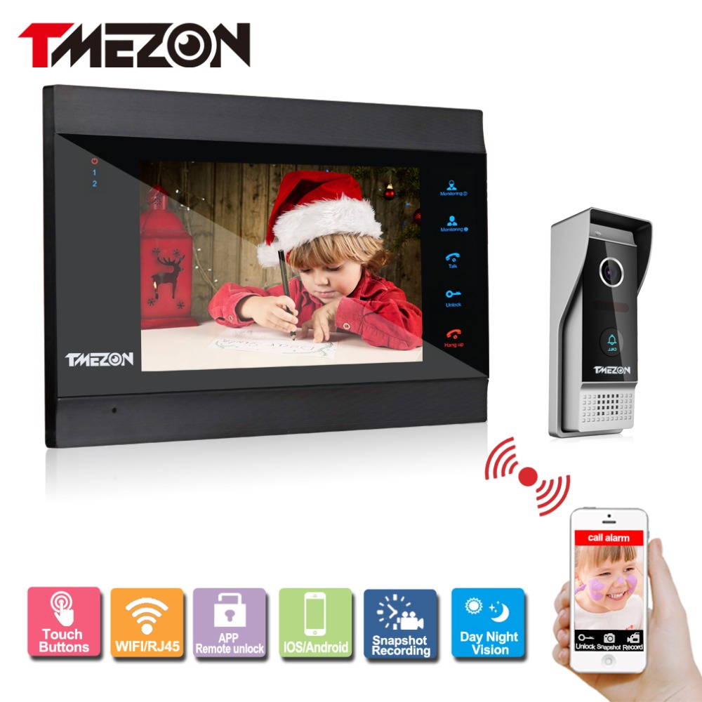 Tmezon Smart IP Video Door Phone 7 TFT Monitor 1200TVL Camera Intercom Security Doorbell System Unlock Via Monitor and Phone tmezon 4 inch tft color monitor 1200tvl camera video door phone intercom security speaker system waterproof ir night vision 1v1