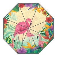 New Arrive Custom Pink Flamingo Umbrellas Creative Design High Quality Foldable Rain Umbrella