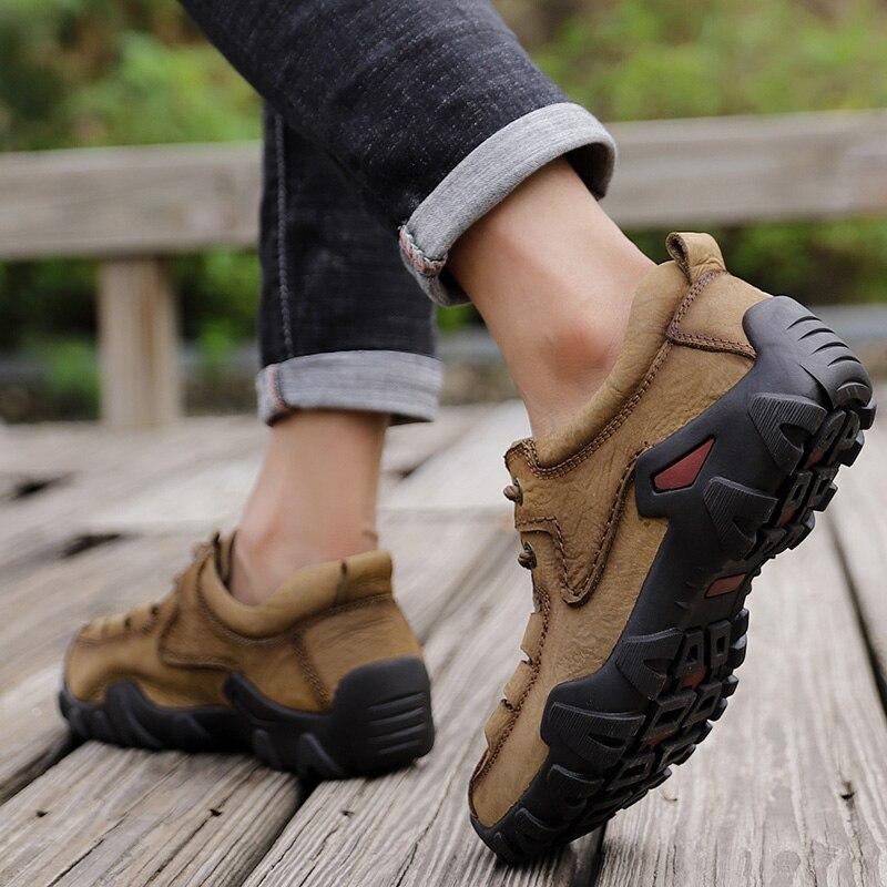 Doré Jeune homme Bottes Tactiques En Cuir Véritable Hommes Chaussures De Plein Air Sneaker Respirant Chaussures de Randonnée Montagne Homme Bottes De Chasse - 4
