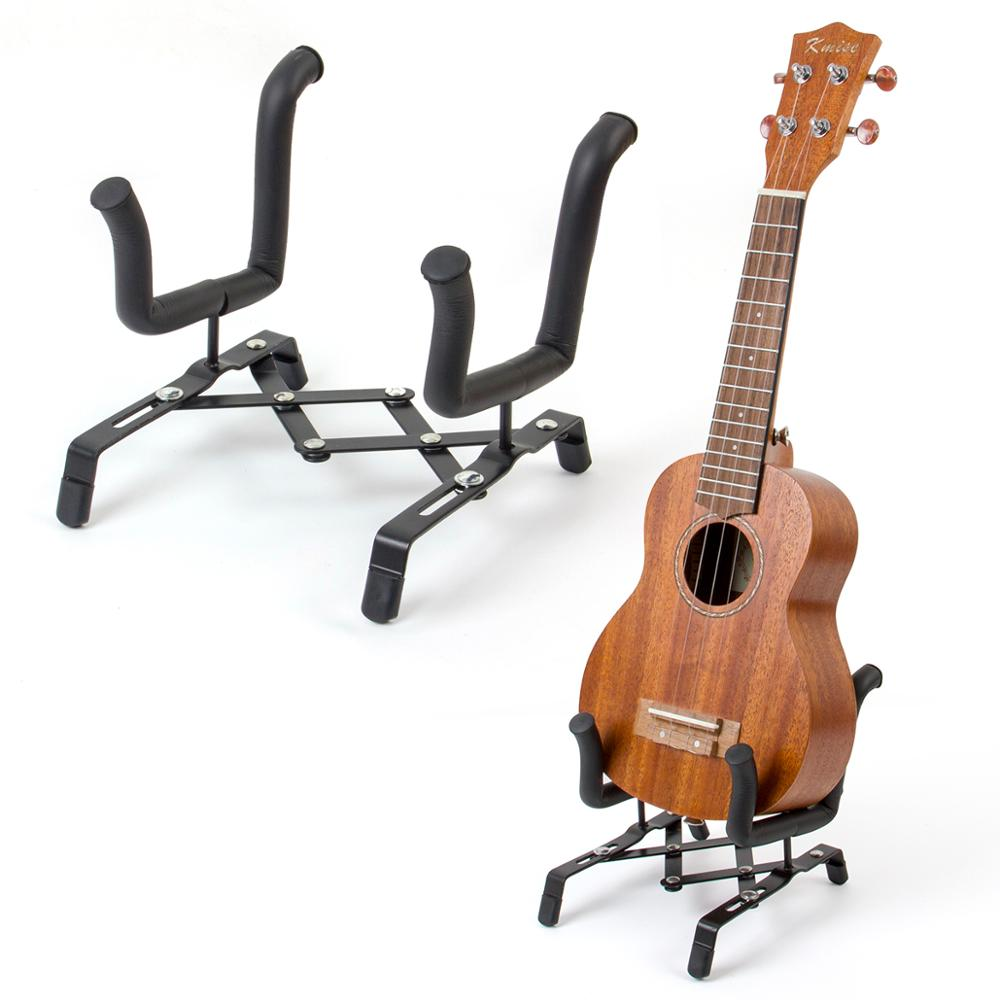 Kmise Ukulele Violin Stand Holder Portable Foldable for Soprano Concert Tenor Ukelele 4/4 3/4 2/4 1/4 Violin Metal Black image