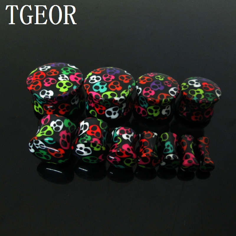 Pair Acrylic Ear Plugs Tunnels Pure Rose Flower Saddle Flesh Expanders Jewelry