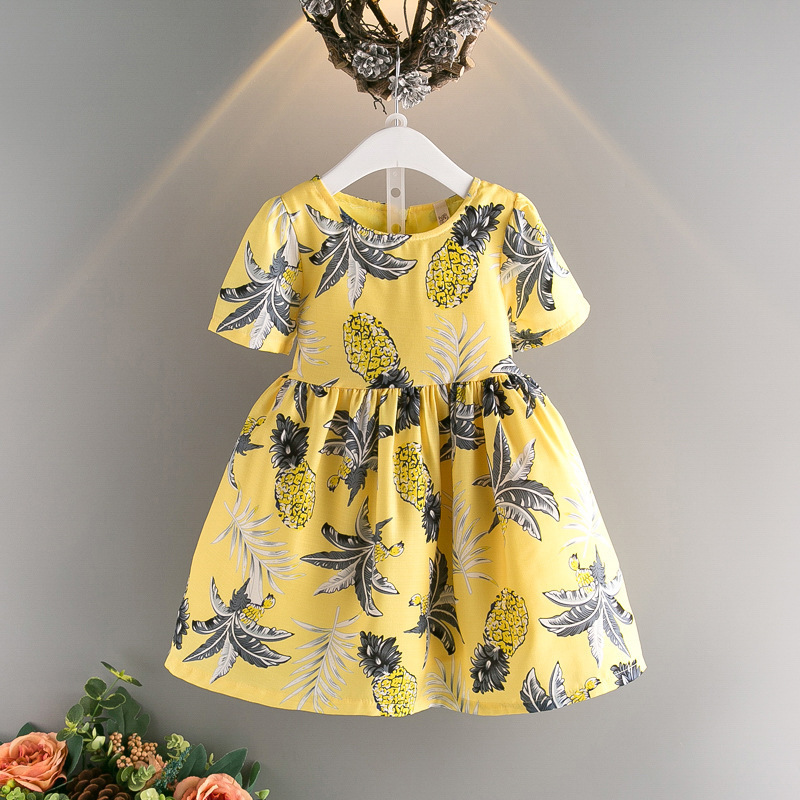 Подробнее о summer 3-10 years old child clothes girls Pineapple pattern print dress baby dresses children clothing kids short sleeve dress baby girls dresses brand princess dress girl clothes kids dresses children costumes 3 14 years old