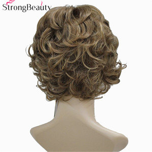 Image 3 - Strong Beauty Synthetic Wigs Womens Curly Ends Short Fiber Wig With Layered Bangs 17 Colors