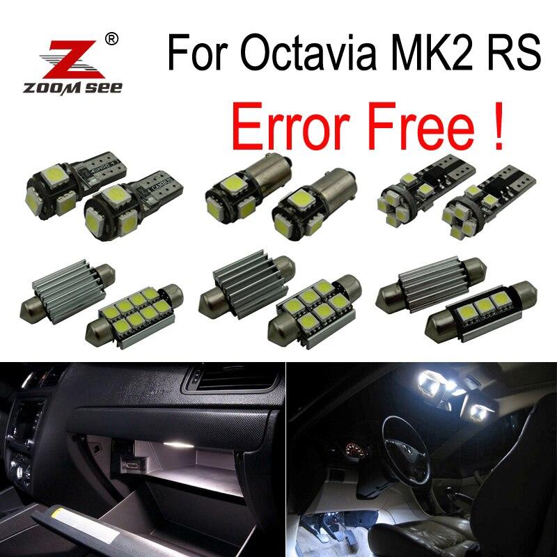 12pcs license plate lamp LED bulb Interior dome Light Kit for Skoda Octavia 2 saloon MK2 MK II sedan RS 1Z3 (2005-2012) цена