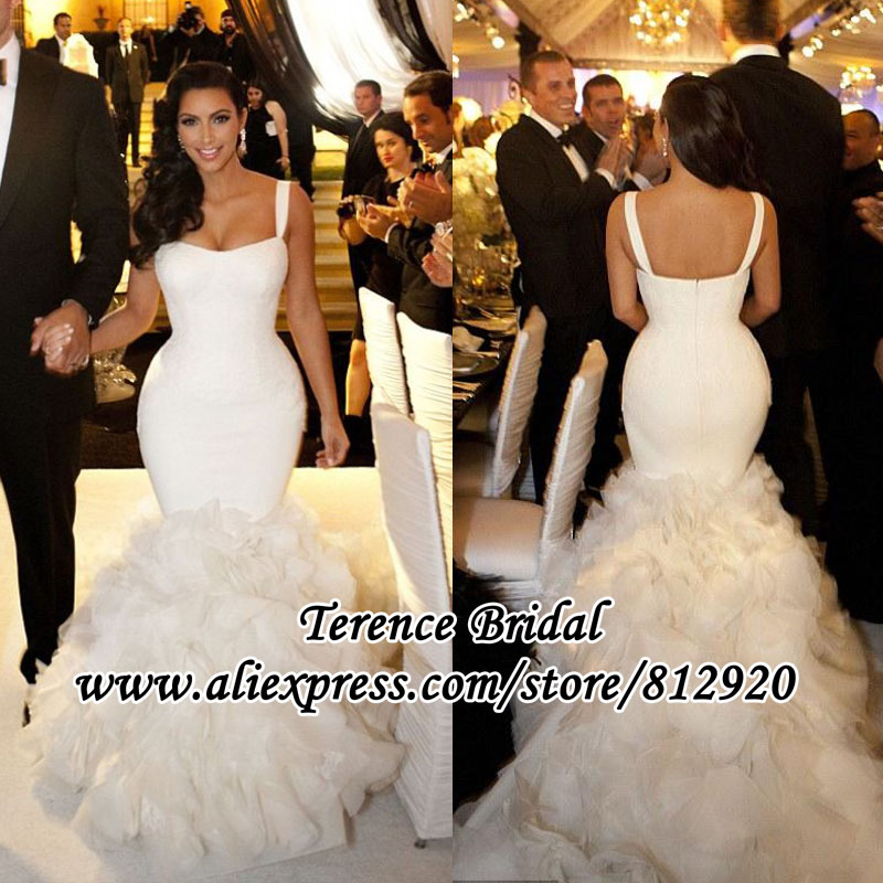 Kim Kardashian Mermaid Wedding Gown : Kim kardashian wedding dress lace mermaid ruffle celebrity