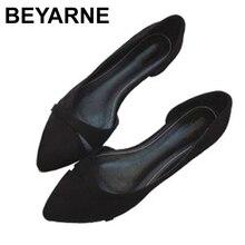 BEYARNEWoman Einfache Lesisure Schuhe Für Walking Keine Ferse Slip auf Flach Kappe Flock Fashion Zapatos Plus Size35 46E740